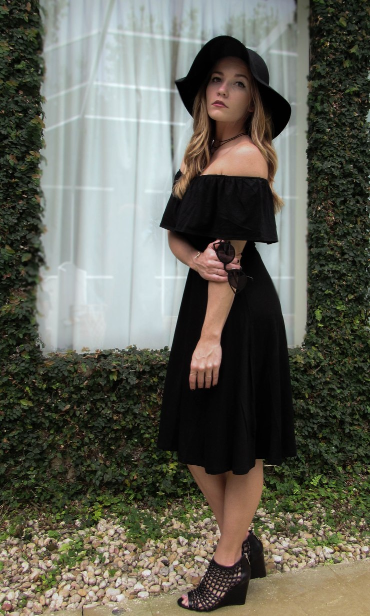 forever21-outfit-off-shoulder-dress-wool-hat-spring-style