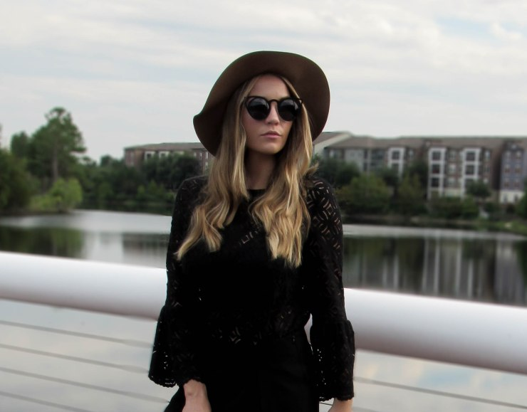 hm_black_lace_bell_sleeves_top_forever21_wool_floppy_hat_summer_outfit_pinterest_zara_skort_blog_style