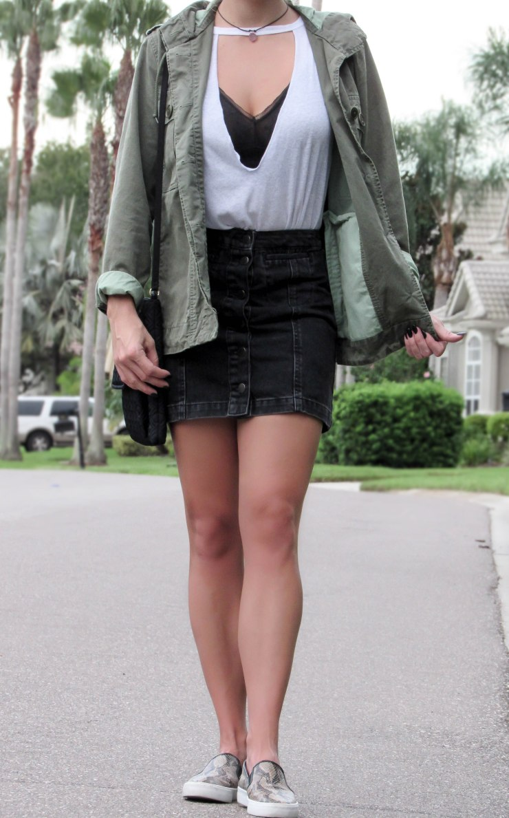 fashion_blogger_forever21_basic_tee_jcrew_military_jacket_topshop_denim_skirt_zerouv_clear_frames_summer_outfit_pinterest_blog
