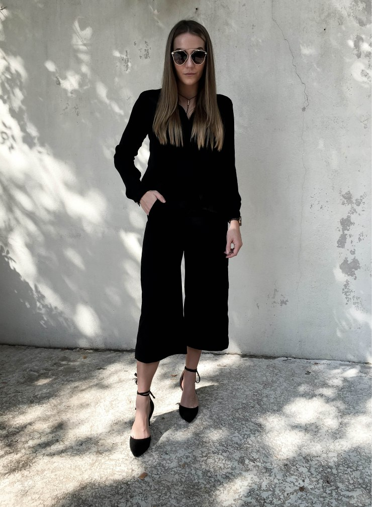 forever21_black_button_up_silk_blouse_culotes_outfit_pinterest