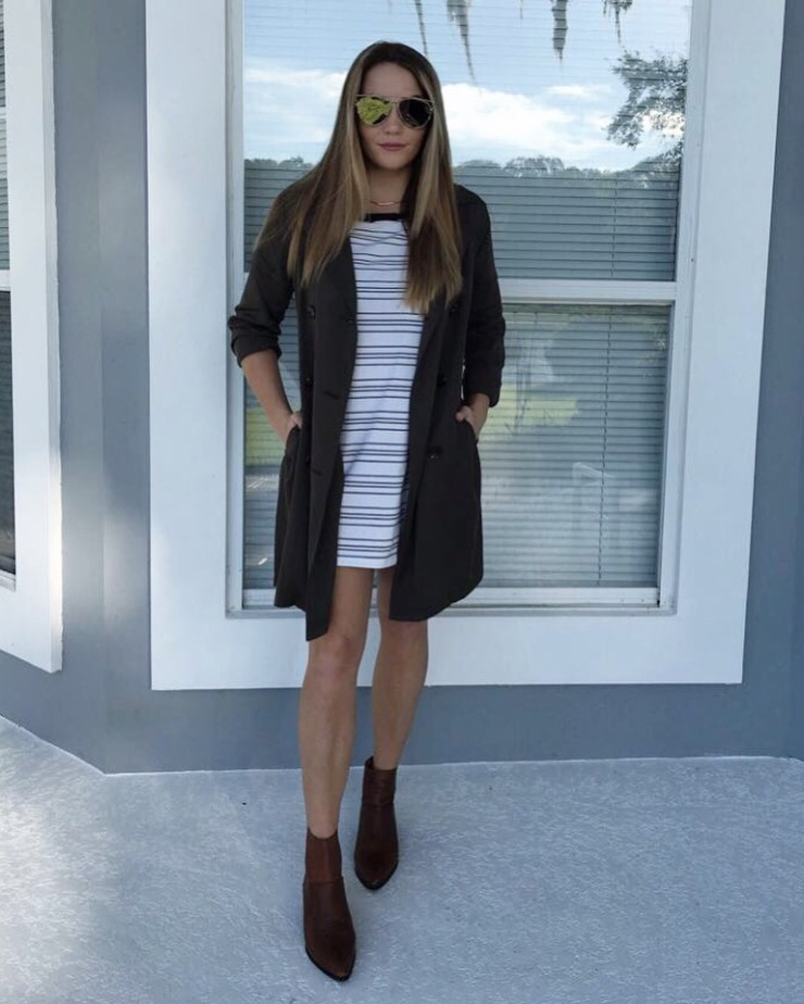 forever21_olive_trench_coat_black_white_stripped_shirt_dress_pinterest
