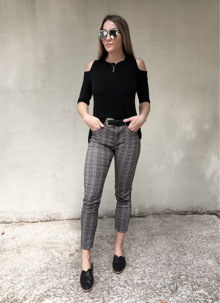 hm_black_cold_open_shoulder_top_printed_pants_dolce_vita_moroccan_slip_on_flats_outfit_pinterest