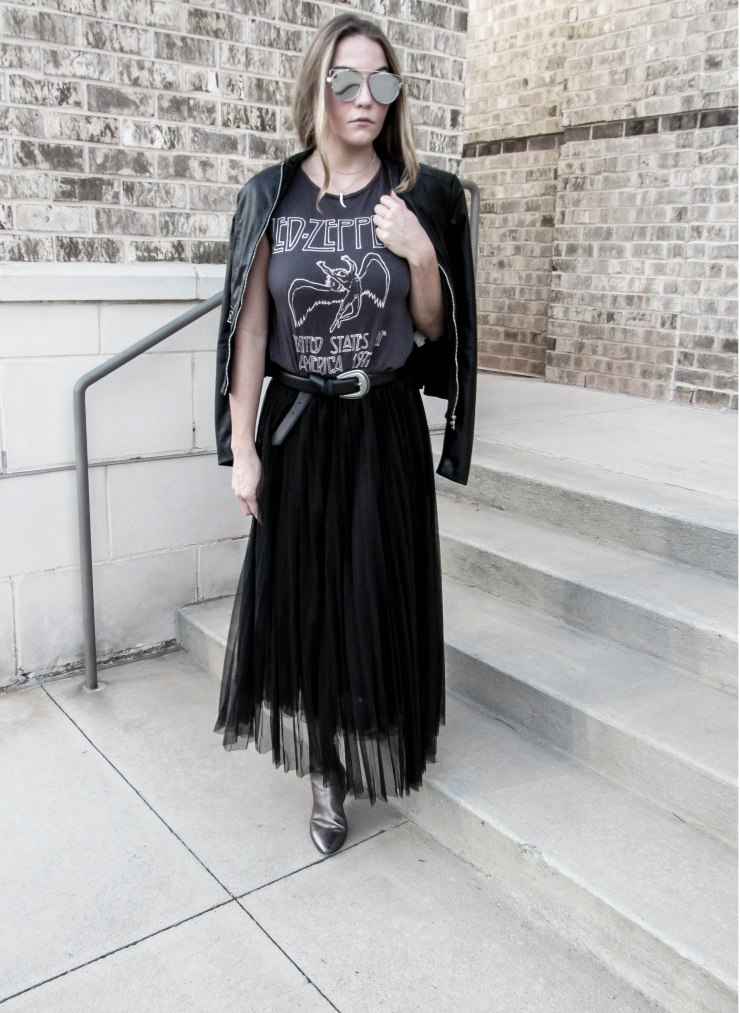 hm_top_led_zeppelin_graphic_tee_shein_black_mesh_pleated_skirt_outfit_pinterest_blog_lovin_zerouv_mirror_lens