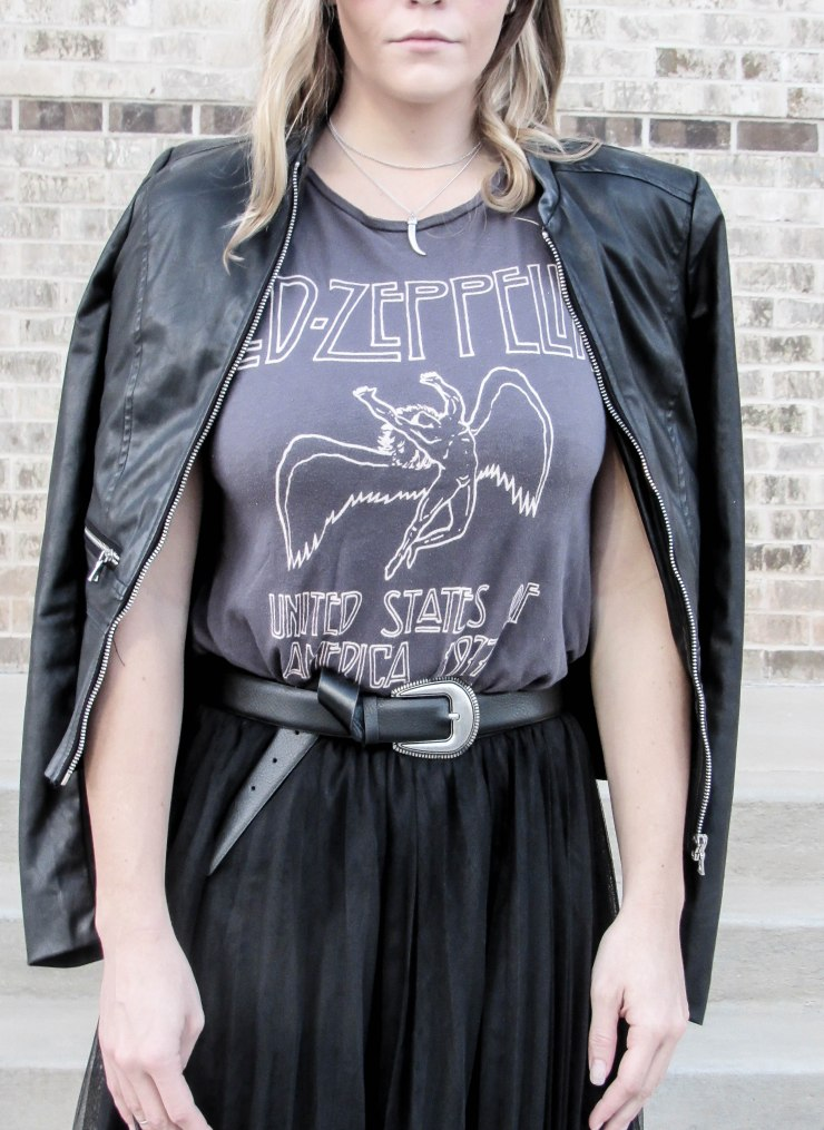 led_zeppelin_graphic_tee_shein_black_mesh_pleated_elastic_waist_skirt_outfit_pinterest_blog