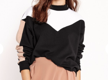 missguided_colour_block_panel_sweatshirt_black_outfit_pinterest