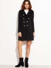 shein_black_stand_collar_double_breasted_coat