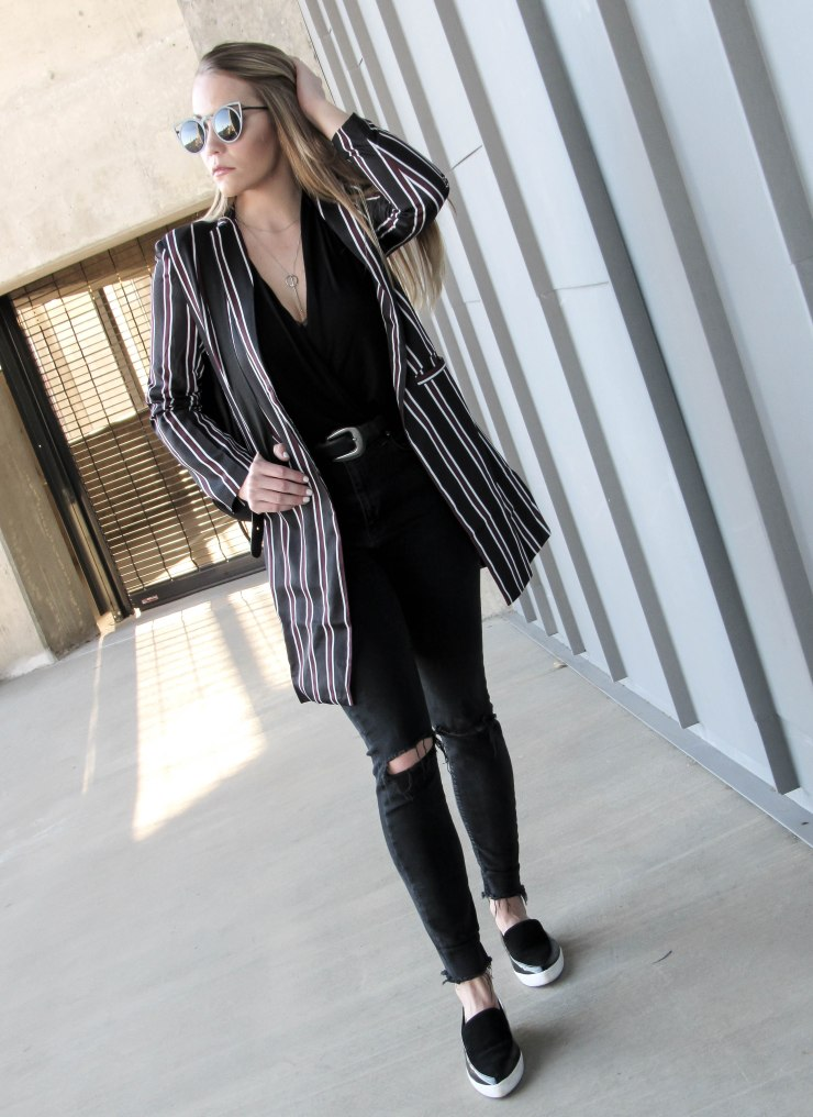 shein_multicolor_striped_lapel_pocket_long_blazer_lookbook