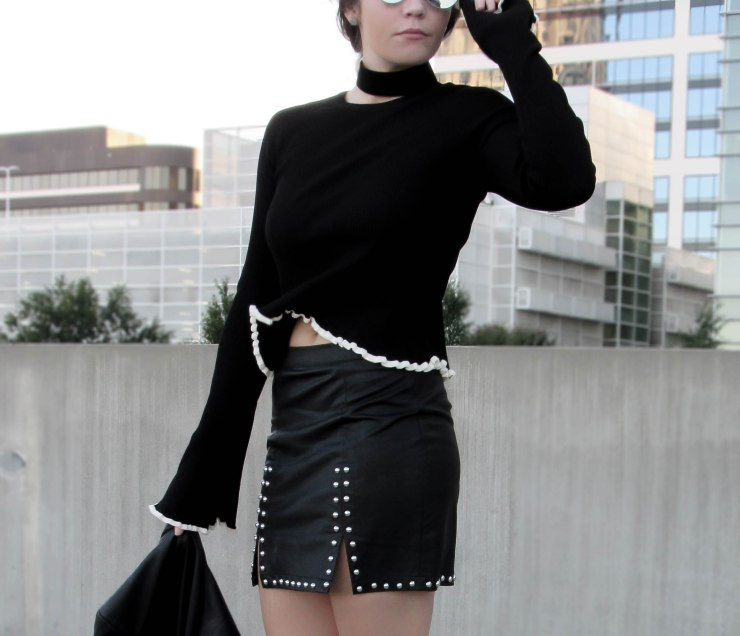 zara_trumpet_sleeve_sweater_outfit_forever21_studded_mini_skirt_black_pinterest