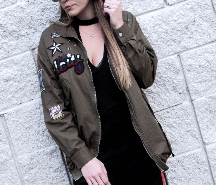 army_green_patch_zipper_drawstring_coat_shein_look