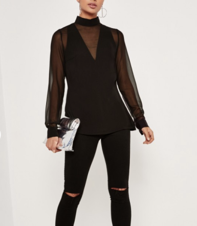 missguided-tall-mesh-insert-chiffon-blouse-black