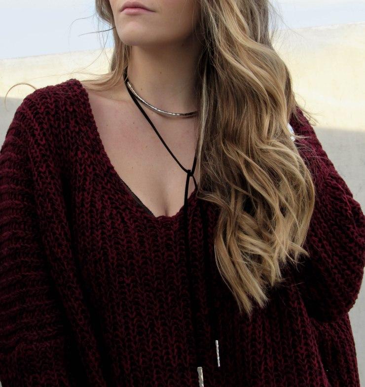 burgundy-marled-knit-drop-shoulder-sweater-shein