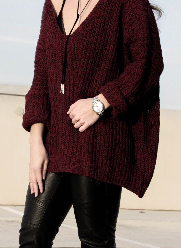 burgundy-marled-knit-drop-shoulder-sweater-shein