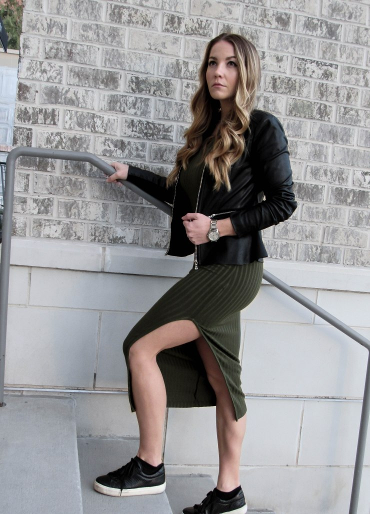 olive-green-ripped-slit-dress-shein-pinterest