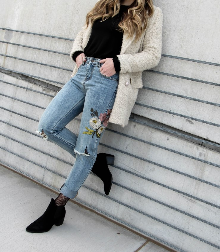 shein-blue-flower-embroidery-ripped-jeans-forever21-faux_fur-coat-cream-missguided-black-ankle-booties