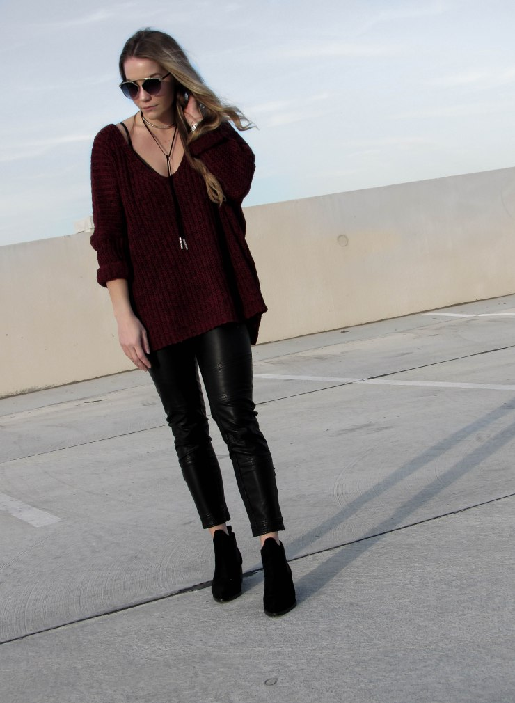 shein-burgundy-marled-knit-drop-shoulder-sweater