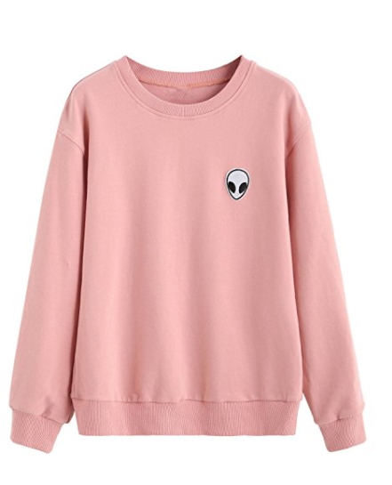 sweatyrocks-sweatshirt-women-pink-alien-patch-drop-shoulder-long-sleeve-shirt