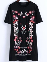 black_floral_embroidery_t_shirt_dress_shein